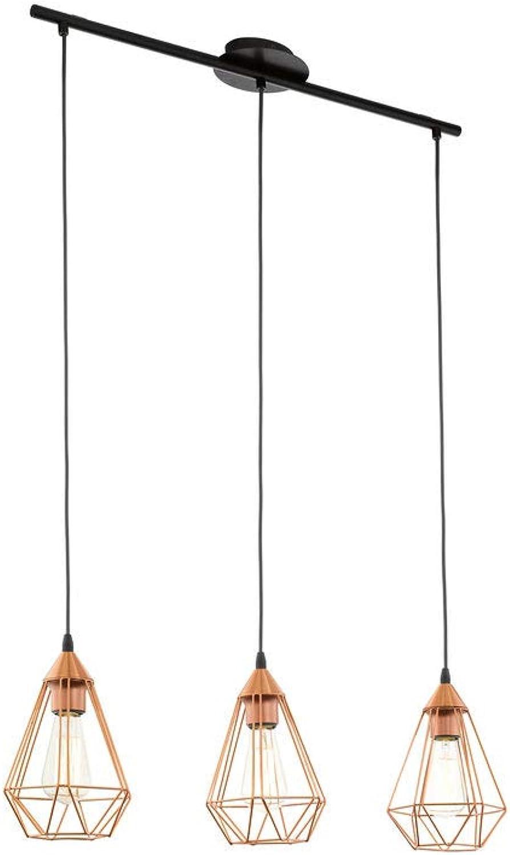 EGLO 94195 A++ to E, Hngeleuchte, Stahl, E27, Kupferfarben  Schwarz, 79 x 17.5 x 110 cm