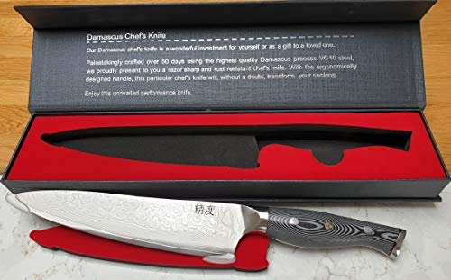 Professional Quality 8 inch Chef?s Knife, Genuine Japanese Super Steel, 67 Layered Damascus - SUPER Sharp with Comfortable Handle