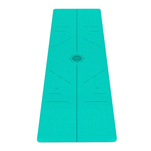 FrenzyBird 1/4-Inch TPE Yoga Mat with Carrying Strap and Alignment Marks, Anti Slip and Easy to Clean, Provides Perfect Cushioning, Ideal for Beginners and Advanced Yogis