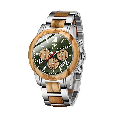 VICVS Reloj de Madera y Acero Inoxidable para Hombre cronógrafo 3 diales cronógrafo Cuarzo Ocio Negocios multifunción Reloj de Madera para Hombre Hecho a Mano. (Olives)