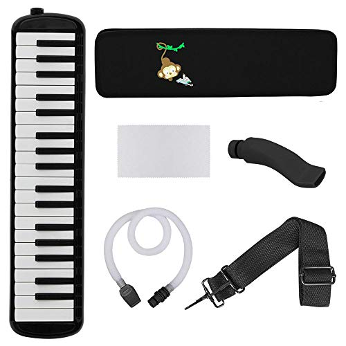 37 Piano Keys Melodica Musical Instrument for Kids Children Melodica 37Key Kids Gift Musical Toy Instrument Kit, BLACK