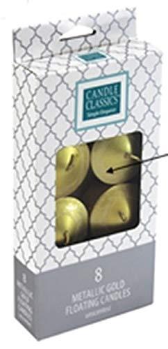 Decoflair PTC6254 Candle Basics Floater Boxed Set 8 Pack, Metallic, Gold