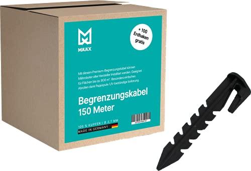 määx® - Begrenzungskabel für Mähroboter | GRATIS Erdhaken | Begrenzungsdraht für Rasenmäher I 100% Kupfer Draht I 2,7 mm I Rasenroboter Zubehör 150m | 100 Erdnägel geschenkt