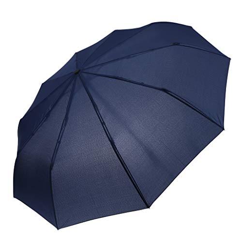 IPOTCH Schirm Regenschirm Sturmfest Unisex Kompaktschirme Auf-Zu Automatik Regenschirm Taschenregenschirm für Regen - Marine