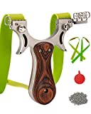RCZZSUWE Hunting Professional Hunting Slingshot with 2 Bands 50 Ammo Stainless Steel Slingshots for Adult Wooden Handle Outdoor Shooting Fishing Catapult with Sight