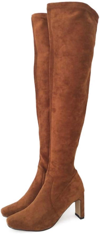 kvinnor Over The Knee Thigh High Cleed Sole Faux mocka mocka mocka stövlar Chunky Platform stövlar passar Stretchy Sexy stövlar  stor rea