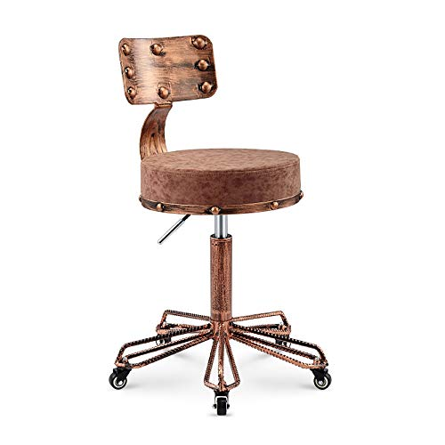 SHPEHP, Retro-Hocker, höhenverstellbarer 360 ° -Drehstuhl, Beauty-Salon-Sessel mit Rückenlehne, runder Make-up-Hocker, ergonomischer Stuhl-Brown