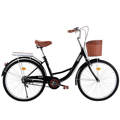 """MLSH Stadtfahrrad, Classic Traditional Unisex 20\""""24\"""" Rahmennabenfahrräder im holländischen Stil mit Korb, Freizeitreisefahrrad Schwarz (Size : 24 inch)"""