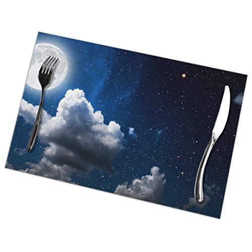 Maan Wolken Donker Hemel Behang Placemat Wasbaar Voor Keuken Diner Tafelmat, Gemakkelijk te reinigen Makkelijk Te Vouwen Plaats Mat 12x18 Inch Set Van 6