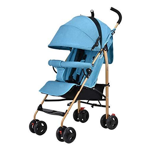 Poussettes JCOCO Baby Trolley Peut s'asseoir et Se Coucher Ultra-léger Pliable Baby Buggy Portable Mini Simple + Manchon en Caoutchouc + Housse de Pluie (Couleur : Linen Blue)