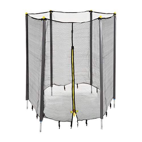 Relaxdays Unisex Jeugd, zwart trampoline-net, vangnet voor tuintrampoline, met 6 gevoerde stangen, veiligheidsnet, Ø 183 cm