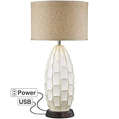 Cosgrove Oval White Ceramic Table Lamp with USB Workstation Base - Possini Euro Design