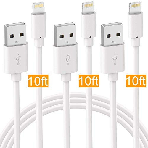 Boost USB Cable, Premium Charger Cord for Fast Data Transfer & Charging Delivery Replacement Cable Compatible for iPhone8 Case/X / 7 / 6S / Plus + More (3-Pack) (Extra-Long 10FT Cord)