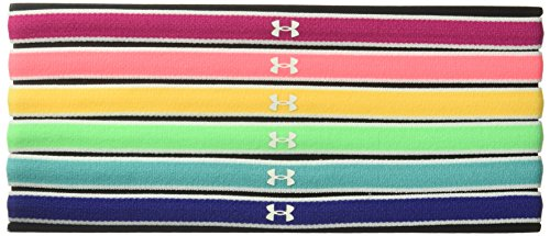 Under Armour Girls' Mini Headbands 6-Pack , Tropic Pink (654)/White , One Size Fits All