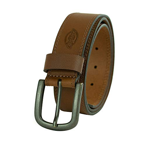 Dickies Men's 100% Leather Jeans Belt with Stitch Design and Prong Buckle, tan, 30 (Waist: 28)