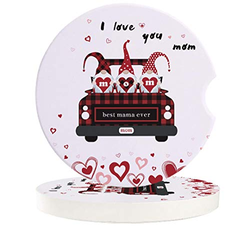 Car Absorbent Stone Coasters, I Love You Best Mama Ever Cute Gnomes and Red Truck Coaster Set for Auto, Convenient Finger Slot Fit Most Car, As Gift for Men and Women 2-Piece Set