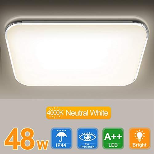 Hengda 48W LED Deckenleuchte, 4080LM Flimmerfreie Deckenlampe LED, Neutralweiß 4000K, für Wohnzimmer Schlafzimmer Küche Büro Esszimmer Halle, IP44 Schutzart, ersetzt 200W Glühlampe