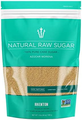 Akenton Natural Raw Cane Sugar 3 Pound Resealable Bag 100 Natural Unprocessed Unbleached Unrefined product image