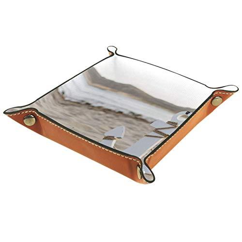 Caja de almacenamiento pequeña, bandeja de valet para hombre,Playa ancha en la arena junto al mar,Organizador de cuero para llaves de caja de monedas