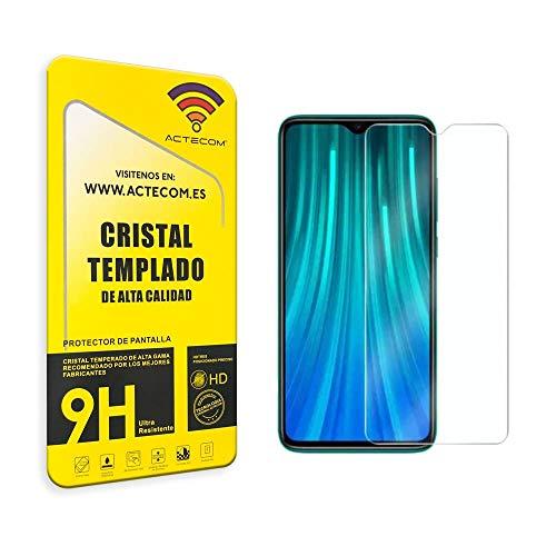 ACTECOM PROTECTOR PANTALLA Compatible con XIAOMI REDMI NOTE 8 CRISTAL VIDRIO TEMPLADO