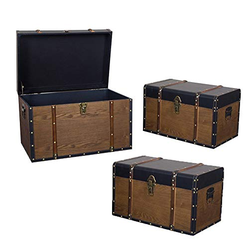 Vintage Suitcase,Treasure Chest,European PU Wear-resistant Rivet Strip Wood Grain Creative Props With Lock, Cafe ,Set Of 3 GGYMEI (Color : Brown)