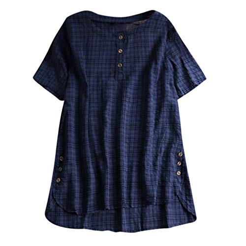 QingJiu Damen T-Shirt Mode Frauen Kurzarm Kaftan Baggy Button Baumwolle Leinen LäSsige Tunika Bluse (XXX-Large, Marine)