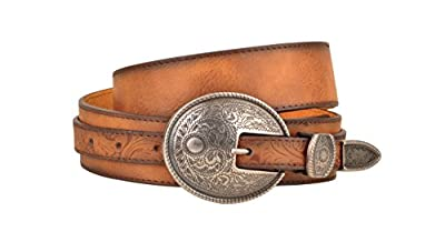 Western Aged Finish Tan Genuine Leather Belt Engraved Oval Belt Buckle (L)