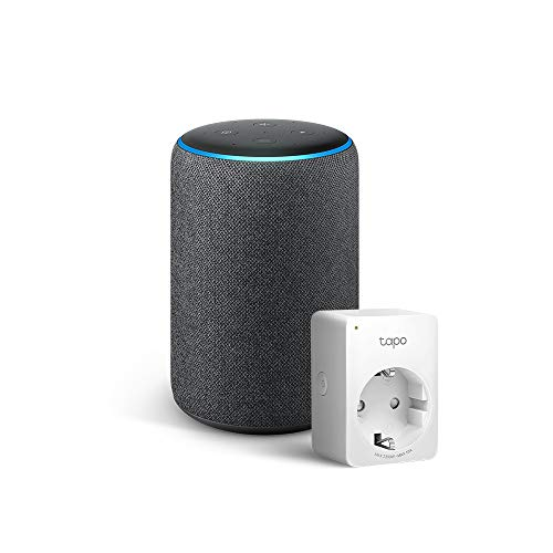 Amazon Echo (3ª generazione) - Tessuto antracite +Tapo P100 Presa intelligente Wi-Fi, compatibile con Alexa