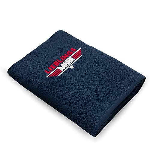 Handtuch Bestickt 50x100cm / das Original – LIEBLINGSMANN - die Geschenkidee / Coole Sachen aus 100% Baumwolle / HISA DARIL® (Blau)