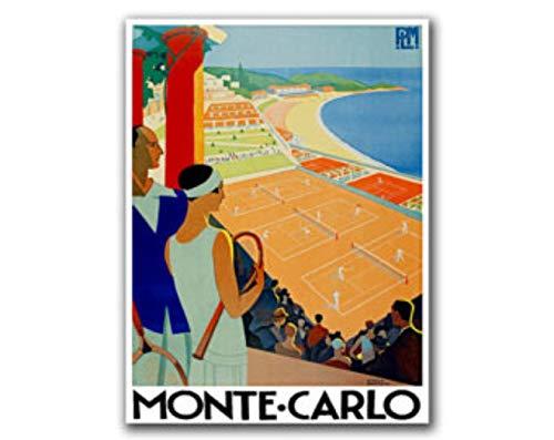 AZSTEEL Póster retro de viaje de Monte Carlo (H176) | Póster sin marco para decoración de oficina, el mejor regalo para la familia y tus amigos 11.7 x 16.5 pulgadas