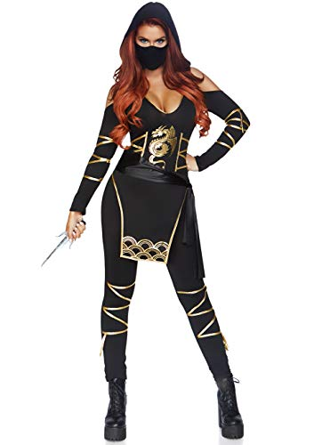 Leg Avenue 3 Piece Stealth Ninja Catsuit Set-Sexy Hooded Halloween Costume with Matching Face Mask for Women, Black/Gold, Small