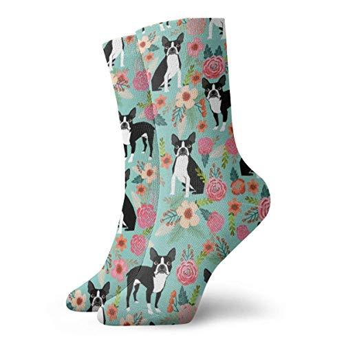 HJKI Boston Terrier Tacos Alimentos Raza Perro Lindo Mascotas Tela Rosa Clásicos Calcetines de Compresión Deportivos Deportivos Deportivos 30CM Calcetines Largos Tripulación para Hombres Mujeres