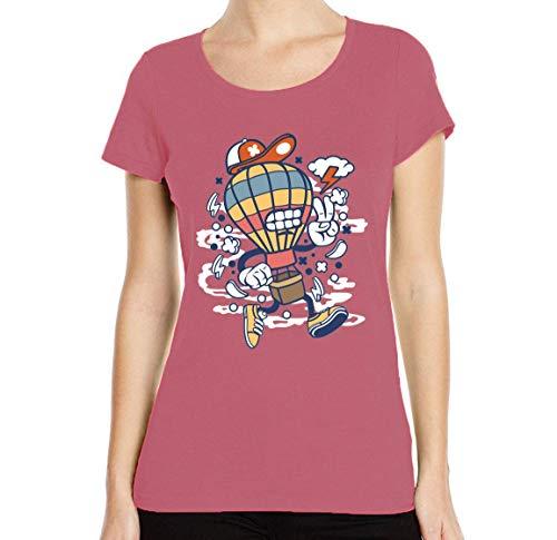 Iprints dames T-shirt cartoon styled Air balloon Flying Thunderstorm ronde hals