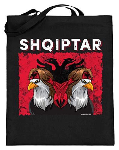 ALBASPIRIT Shqiptar Albaner Wappen Albanischer Adler Albanien Flagge - Jutebeutel (mit langen Henkeln) -38cm-42cm-Schwarz