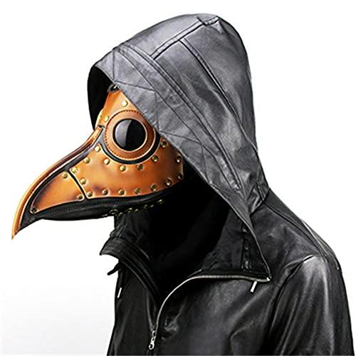 XJST Maschera di Costume da Festa Masquerade, Plague Doctor Mask Pelle Lungo Nose Bird Beak, Masquerade Mask, Mask Maski Mask, Maschera Full Viso Party, Brown, 32Cm * 26Cm * 21Cm