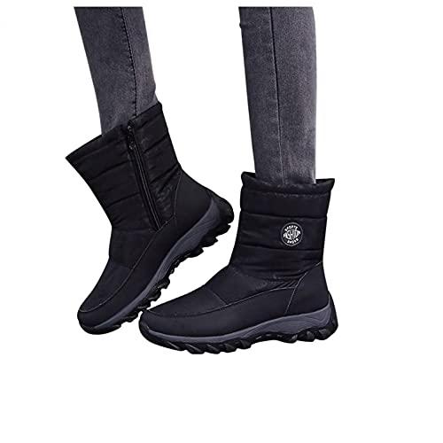Padaleks Botas de nieve para mujer, impermeables, antideslizantes, con plataforma, cómodas, con forro de piel, para invierno, cálidas