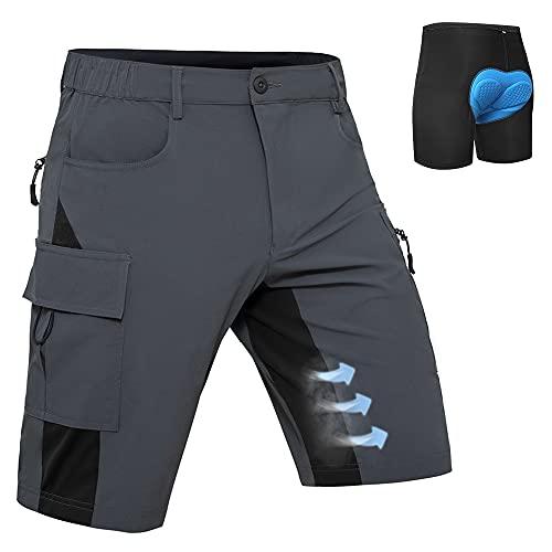 Hiauspor Herren Mountainbike Hose Baggy MTB Shorts 3D gepolsterte Radhosen Loose Fit Schnelltrocknende Fahrradhose(Grau, XL)
