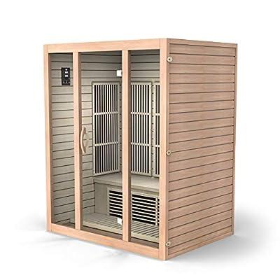 Durasage 3-Person Carbon Infrared Sauna - Canadian Hemlock Wooden Sauna - 2000 Watts - Bluetooth, FM Radio & USB Input