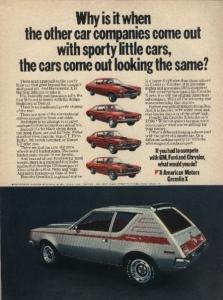 AMC 1971 Gremlin X vs.Vega/Pinto/Comet/Maverick Vintage Color AD - USA - Excellent Original !!