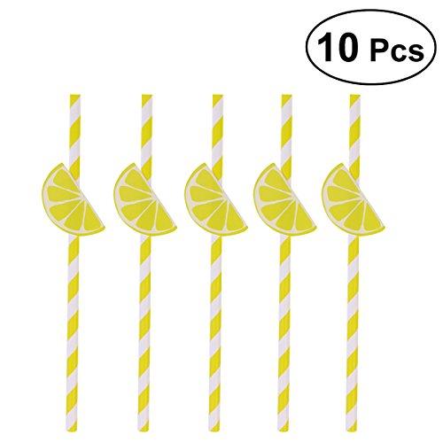 10 Pcs Hawaiian Party Paper Straws Decorative Drinking Straws Luau Party Table Decor BBQ Hawaiian Theme Decoration Lemon (Yellow)
