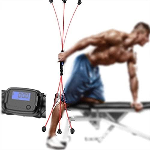 Barra de fitness elástica ejercicio muscular de tríceps adecuado para ejercicios en casa ejercicios hombros brazos barra de entrenamiento de fuerza en el pecho y la cintura para equipos de fitness-RED