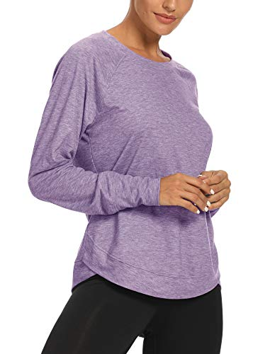Wrokout Shirts for Women Long Sleeve Yoga Shirts for Women Sports Running Shirt Workout Tops for Women Lavender XL