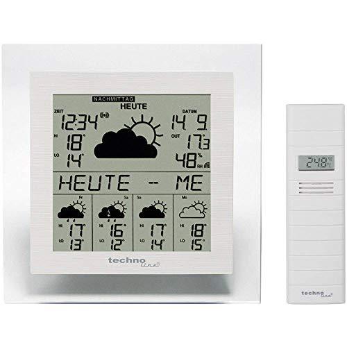 Technoline WD 9245 Weerstation op basis van satellietgegevens met binnen/buitentemperatuurweergave, betrouwbare weersvoorspelling voor 5 dagen, met stroomwaarschuwing, transparant frame, 18,4 x 3,4 x 18,4 cm