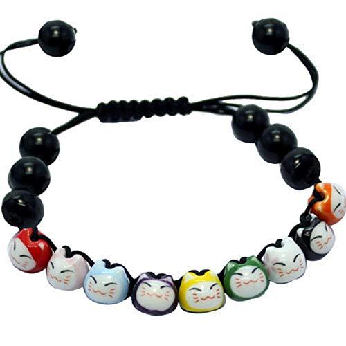 Black Sugar Bracelet Tête De Chat Noir Rouge Maneki Neko Porte Bonheur en Porcelaine Kawai Mignon
