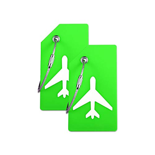 Silicone Luggage Tag with Name ID Card Perfect to Quickly Spot Luggage Suitcase by CPACC (Green 2 Pack Tags)