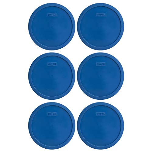 Pyrex 7401-PC 3 Cup Lake Blue Round Plastic Lid (6, Lake Blue)