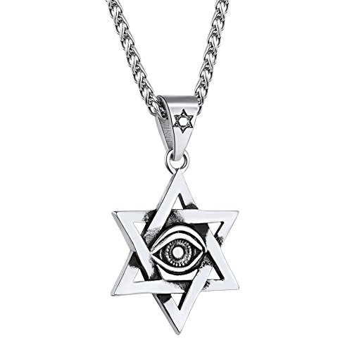 Men Stainless Steel Vintage Egyptian Eye of Horus Jewelry Star of David Necklace, Protection Amulet for Men Women