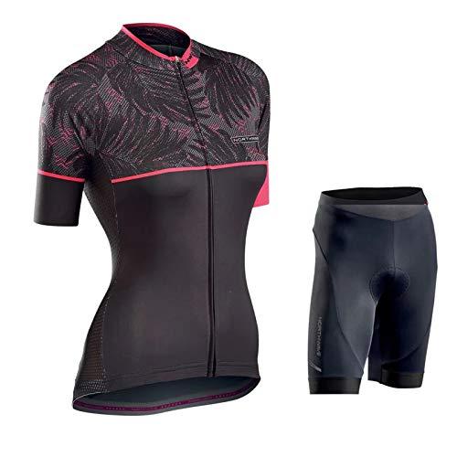 Dames Fietsset Fietsshirt met korte mouwen en gewatteerde 9D-shorts Sneldrogende fietspakken voor mountainbikes