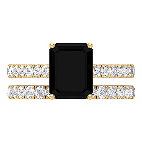 Juego de anillo de compromiso de diamantes negros de 3,50 quilates y anillo de boda de moissanita (calidad de reliquia), 14K Oro amarillo, Size:EU 47