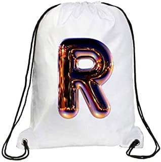IMPRESS Drawstring Sports Backpack White with Night Chrome Letter R